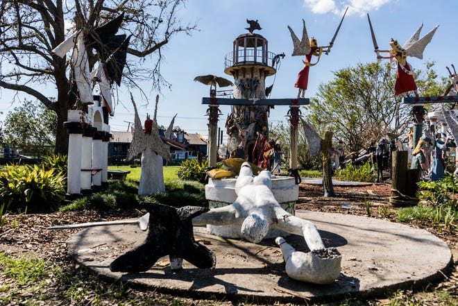 Displays lay damaged Friday, Sept. 10, 2021, at the Chauvin Sculpture Garden, nearly two weeks after Hurricane Ida hit the area.