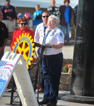 Pam Sprosty- Reed. a 9/11 first responder, speaks to the crowd at the Wayne County Fair opening ceremony about her experience of being one of the first on the scene to help at the World Trade Center in New York City on the 20th anniversary of the tragedy.