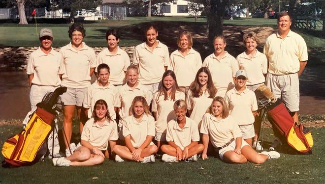 Coach Mark Watts, far right, back row, with his 2001 Hays High girls' golf team.