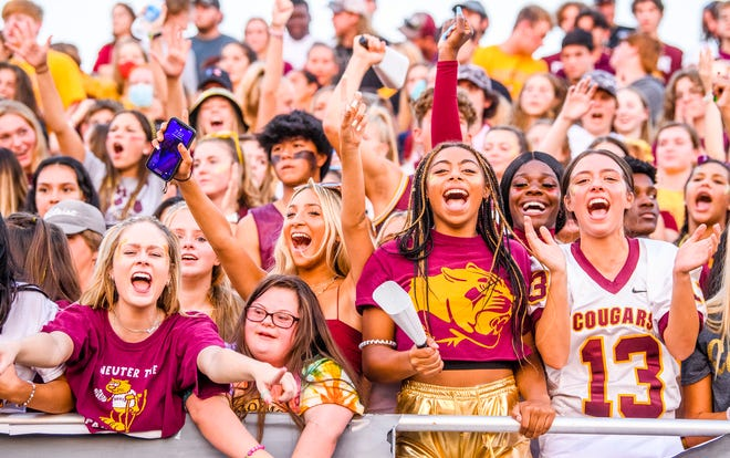 Bloomington North fans show their spirit during the Bloomington South versus Bloomington North football game at Bloomington High School South on Friday, September 10, 2021.