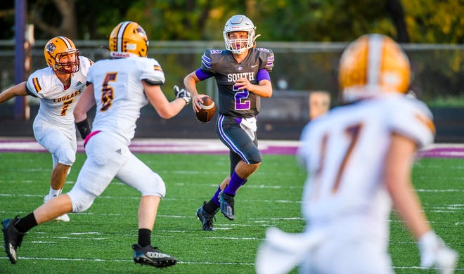 South's Zach David (2) looks downfield during the Bloomington South versus Bloomington North football game at Bloomington High School South on Friday, September 10, 2021.