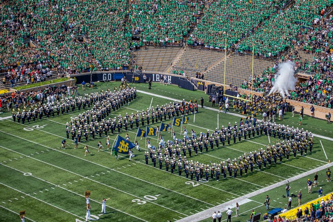 The Irish take the field before the Notre Dame-Toledo football game on Saturday, Sept. 11, 2021, at Notre Dame Stadium.