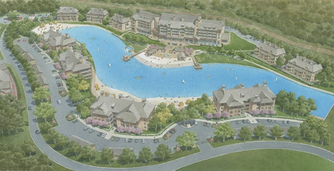 Aerial rendering of some of the development planned for Pointe Vista at Lake Texoma.