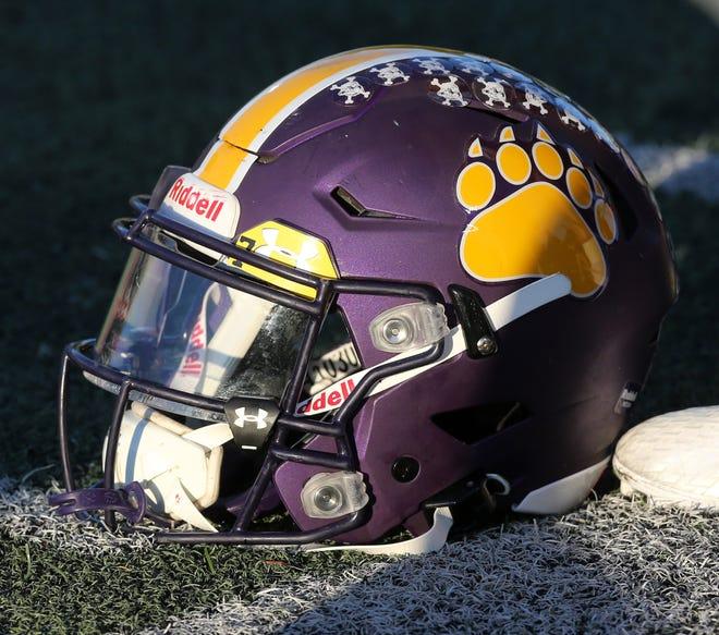 A Jackson High School football helmet.