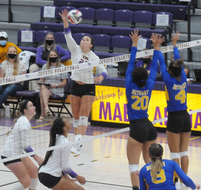Kansas Wesleyan's Maddy Beckett (20) tips the ball over the net during Saturday's match against Bethany at Mabee Arena.