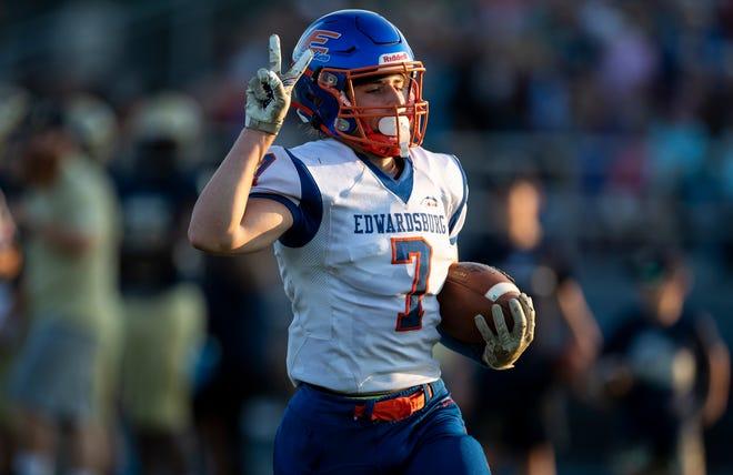 Edwardsburg's Isaiyah Swartz runs with the ball during the Edwardsburg-Niles high school football game on Friday, September 10, 2021, at Viking Stadium in Niles, Michigan.