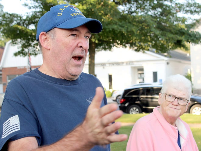 Tom Hagerman of Centreville reflects on his memories from Sept. 11, 2001, during a 30-minute memorial service Saturday on the lawn at the St. Joseph County courthouse.