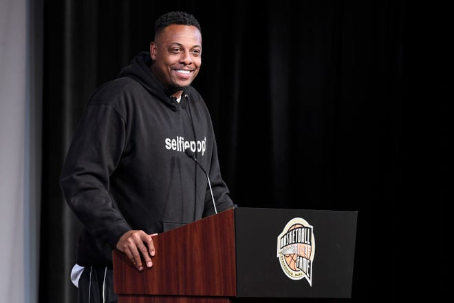 Basketball Hall of Fame Class of 2021 inductee Paul Pierce speaks at a news conference Friday at Mohegan Sun.