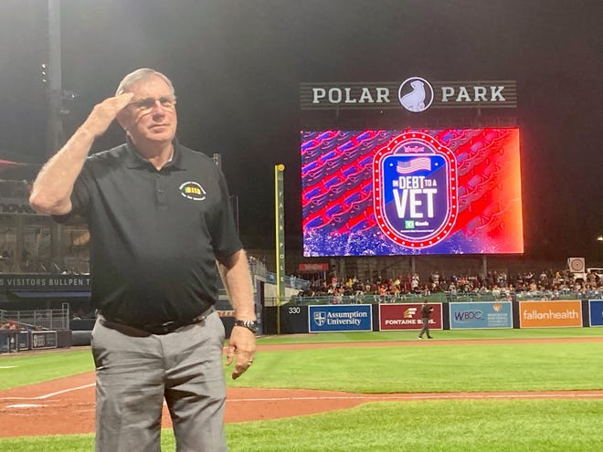 Vietnam veteran and Army Sergeant Phil Madaio, the president of the Massachusetts Vietnam Veterans Memorial at Green Hill Park in Worcester, was honored at Friday night's WooSox game.