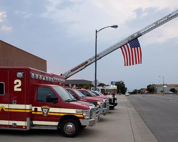 The U.S. flag at half-mast at the 9/11 memorial service Saturday morning at the downtown fire station.