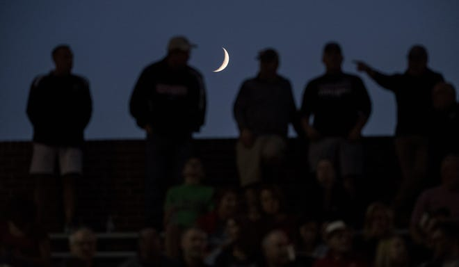 Spectators watch the football game between Haddonfield and West Deptford played at Haddonfield High School on Friday, September 10, 2021.  Haddonfield defeated West Deptford, 27-23.