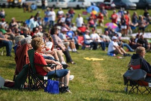 Trump supporters gather outside of a pavillion for Eric Deters' Freedom Fest 2021 at his farm in Morning View, KY on September 11, 2021. Deters had an open invitation to come to his farm for his 2021 Freedom Fest for various speakers, music and a fireworks show.