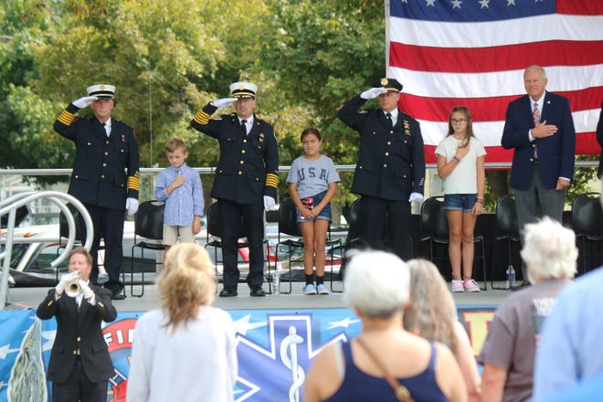 The village of Gibsonburg hosted a remembrance ceremony at the Public Safety Memorial in Williams Park on Saturday to honor the lives lost on Sept. 11, 2001.