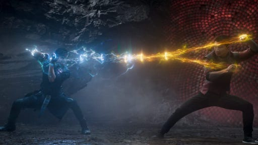 Tony Leung and Simu Liu battle it out in Marvel Studios' 'Shang-Chi and the Legend of the Ten Rings.'