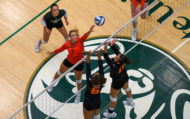 Colorado State's Sasha Colombo pokes the ball over the net against Oregon State at Moby Arena on Friday Sept. 10, 2021.
