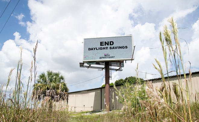A billboard on Alico Road near U.S. 41 advocates for the end of Daylight Savings Time on Friday, Sept. 10, 2021.