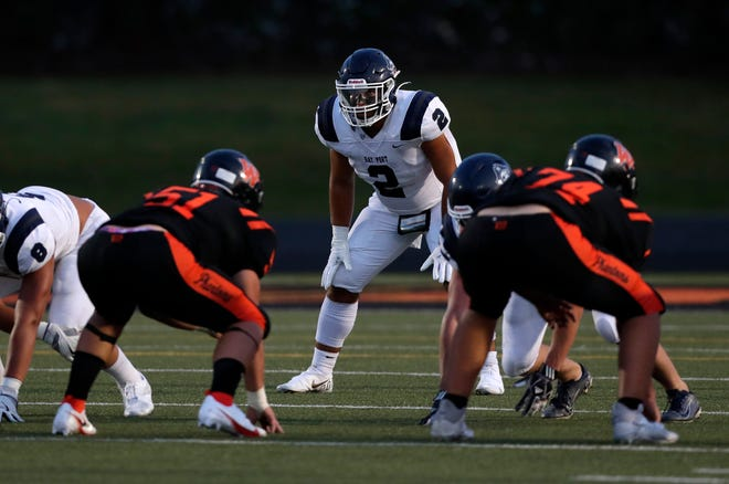 Bay Port senior linebacker Jayden Montgomery (2) will miss the rest of the season after sustaining a torn anterior cruciate ligament against West De Pere on Friday.