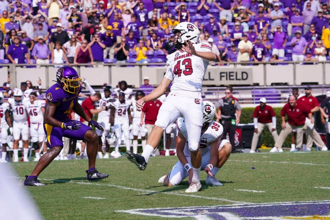Sep 11, 2021; Greenville, North Carolina, USA; South Carolina Gamecocks place kicker Parker White (43) kicks the game winning field goal in the forth quarter against the East Carolina Pirates at Dowdy-Ficklen Stadium. Mandatory Credit: James Guillory-USA TODAY Sports