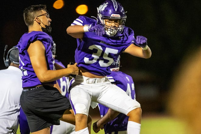 Shadow Hills' Joe Diaz (35) celebrates after a touchdown against Paloma Valley in Indio, Calif., on Sept. 10, 2021.