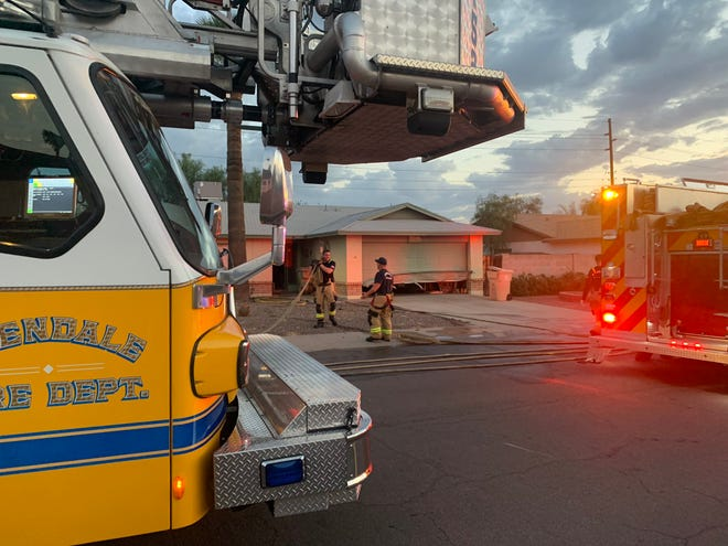 Glendale firefighters arrive at a Glendale residence to extinguish a stove fire on Sept. 9, 2021.