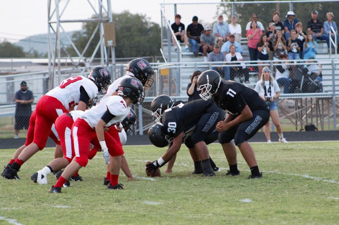 The Water Valley Wildcats and Garden City Bearkats prepare for the snap Friday, Sept. 10, 2021, in Water Valley.