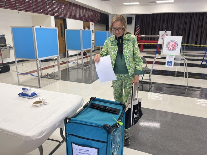 Jane Johnson, 79, voted in person for the first time Saturday in Ventura for California's gubernatorial recall election.
