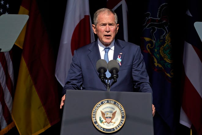Former President George W. Bush speaks at the Flight 93 National Memorial in Shanksville, Pa., Saturday, Sept. 11, 2021, on the 20th anniversary of the Sept. 11, 2001 attacks.
