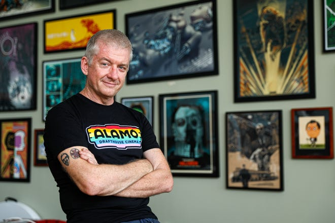 """""""The idea was to always try to do the right thing andtocreate something that is safe and appropriate for our times,"""" Alamo Drafthouse co-founder and executive chairman Tim League says of this year's Fantastic Fest. He's seen here at the theater chain's corporate headquarters in Austin on Sept. 12."""