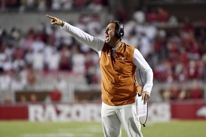 First-year Texas coach Steve Sarkisian has the 23rd-ranked Longhorns pointed in the right direction as he prepares for his first OU game this week. No. 5 Oklahoma has had tight games in four of its five wins.