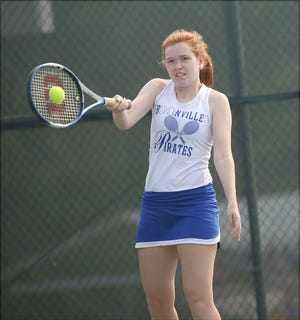 Boonville's Kate Schneringer hits a forehand while playing No. 2 doubles Saturday during the Lady Pirate Open. Schneringer teamed up with Lilli Hendrix to capture first with a record of 4-0.