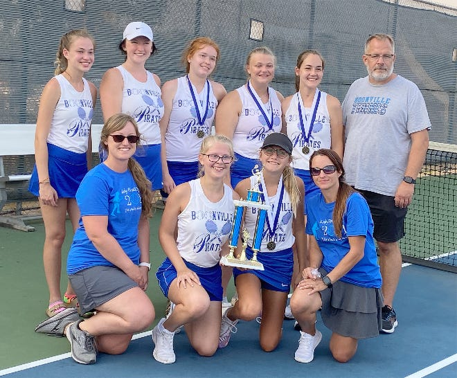 The Boonville Lady Pirates tennis team captured first in the annual Lady Pirate Open Saturday at the high school tennis courts. The Lady Pirates edged Moberly 14-13 for the title.