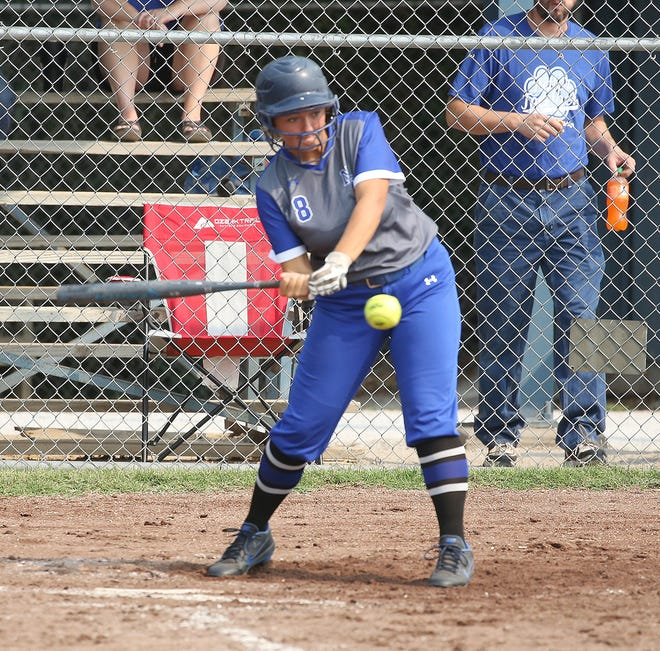 New Franklin's Kristen Flick makes contact with the ball in the second game Saturday against Jamestown in the New Franklin Softball Tournament.