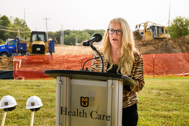 Gigi Quinlan McAreavy, Director of Economic Development for Boonville and Cooper County speaks during the ground breaking ceremony for the MU Health Care Jackson Road Medical Building in Boonville, Mo. on Friday, Sept. 10, 2021.