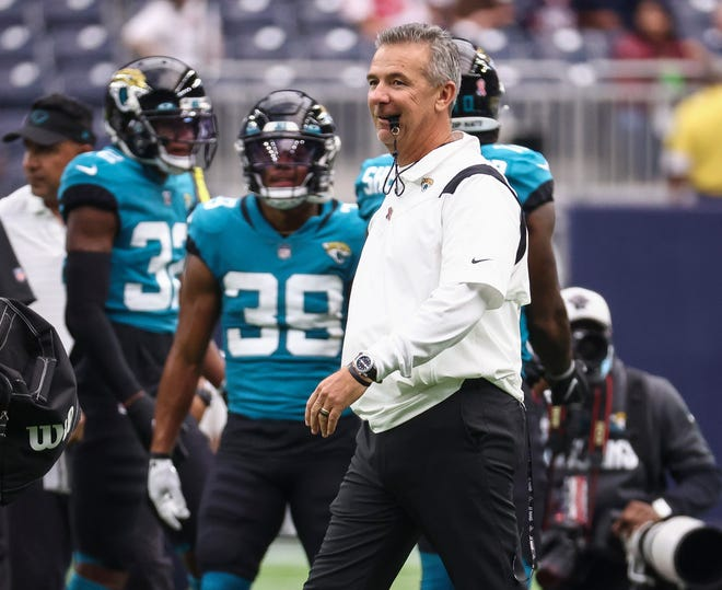 Jaguars head coach Urban Meyer walks on the field before the Sept. 12 game against the Houston Texans.