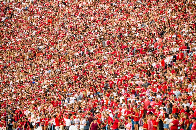 The crowd fills the stand during the Indiana versus Idaho football game at Memorial Stadium on Sept. 11, 2021.