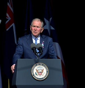 Former President George W. Bush speaks during the 20th annual September 11 observance at the Flight 93 Memorial in Stonycreek Township, near Shanksville, Pa. The memorial honors the 40 passengers and crew of United Flight 93 who lost their lives during the terrorist attacks on September 11, 2001.