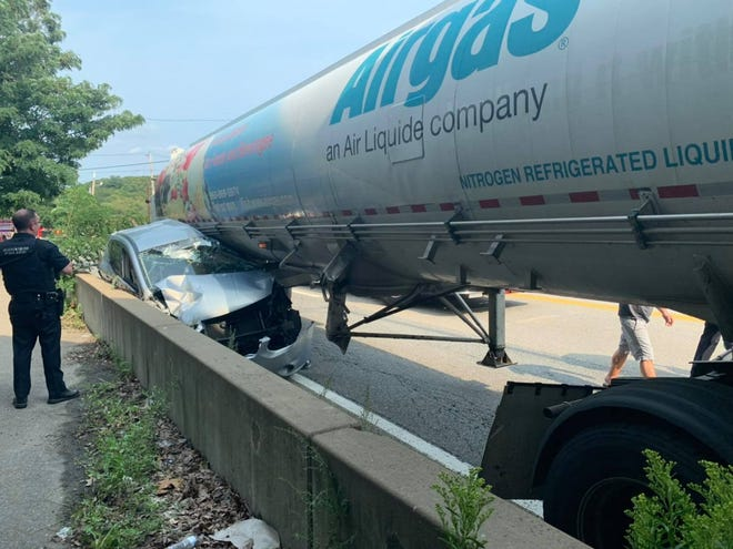 One person was hurt Sunday afternoon when a truck carrying liquid nitrogen collided with a car on Route 12 in Auburn.