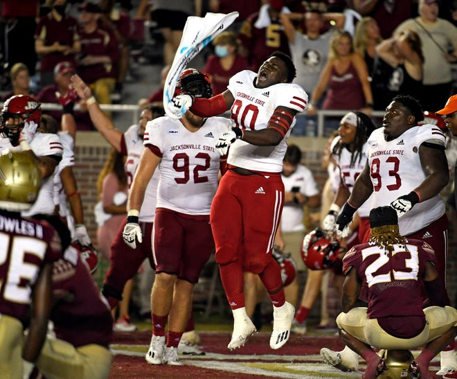 Sep 11, 2021; Tallahassee, Florida, USA; Jacksonville State Gamecocks defensive lineman Mitchell Etheridge III (90) celebrates after defeating the Florida State Seminoles at Doak S. Campbell Stadium.