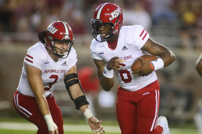 Jacksonville State quarterback Zerrick Cooper (6) runs before the start of an NCAA college football game against Florida State Saturday, Sept. 11, 2021, in Tallahassee, Fla. (AP Photo/Phil Sears)