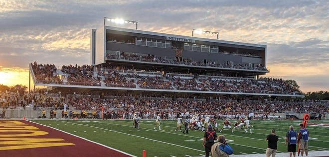 The first Northern State football game at Dacotah Bank Stadium drew 5,867 fans Saturday night. The Wolves beat Southwest Minnesota State 30-13.