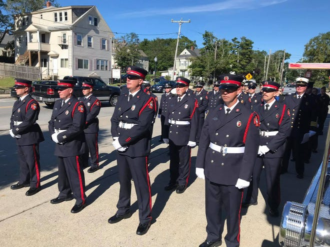 During the ceremony a fire bell was sounded four rounds of five, the traditional alarm to designate a firefighter fallen in the line of duty.