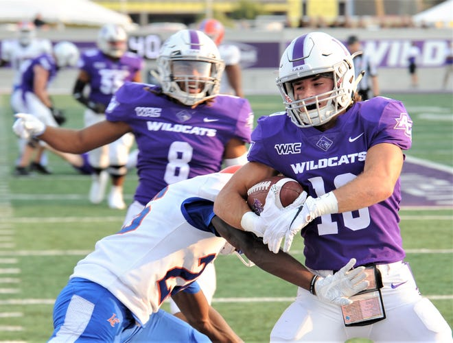 ACU's Denver Holman scores on a 14-yard TD pass from Stone Earle in the first quarter. The score gave ACU a 27-0 lead with 2:21 left in the opening quarter against Louisiana College on Saturday, Sept. 11, 2021 at Wildcat Stadium.