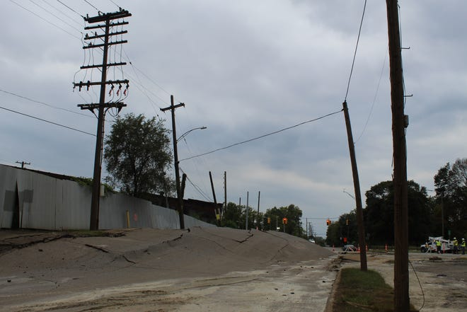 An incident late Saturday, September 11, 2021 buckled part of a roadway in southwest Detroit.