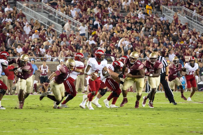 Jermaine Johnson terrorized the Gamecocks all night, finishing with two and a half sacks and a career-high 11 total tackles.