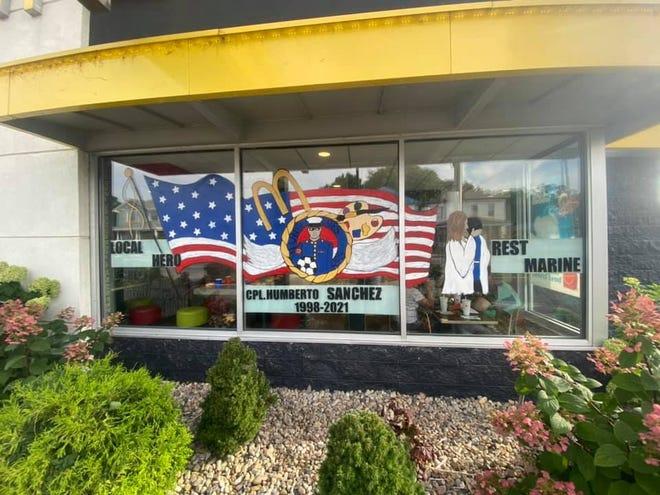 "Logansport Art Association painted a mural to honor Marine Corps Cpl.  Humberto ""Bert"" Sanchez."