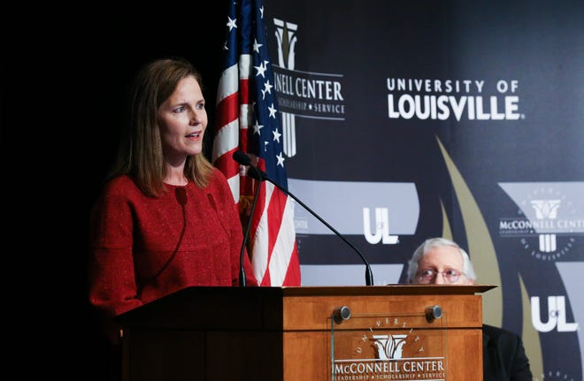 U.S. Supreme Court Associate Justice Amy Coney Barrett made remarks during a lecture at the McConnell Center held at the Seelbach Hotel in Louisville, Ky. on Sep. 12, 2021.