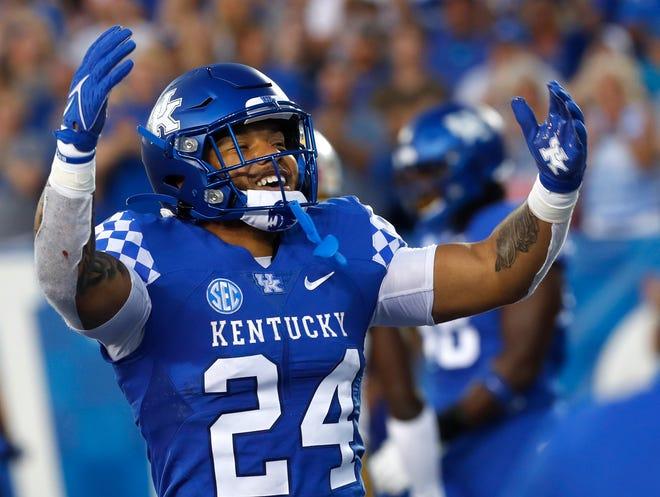 Kentucky's Chris Rodriguez celebrates after he scores a touchdown against Missouri.Sept. 11, 2021