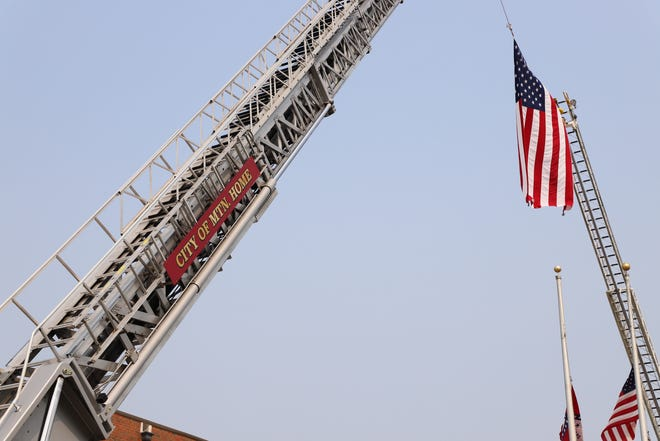 The American flag hangs of Veterans Plaza in Mountain Home, Arkansas. This year marks the 20th anniversary of the Sept. 11 attacks on the World Trade Center.
