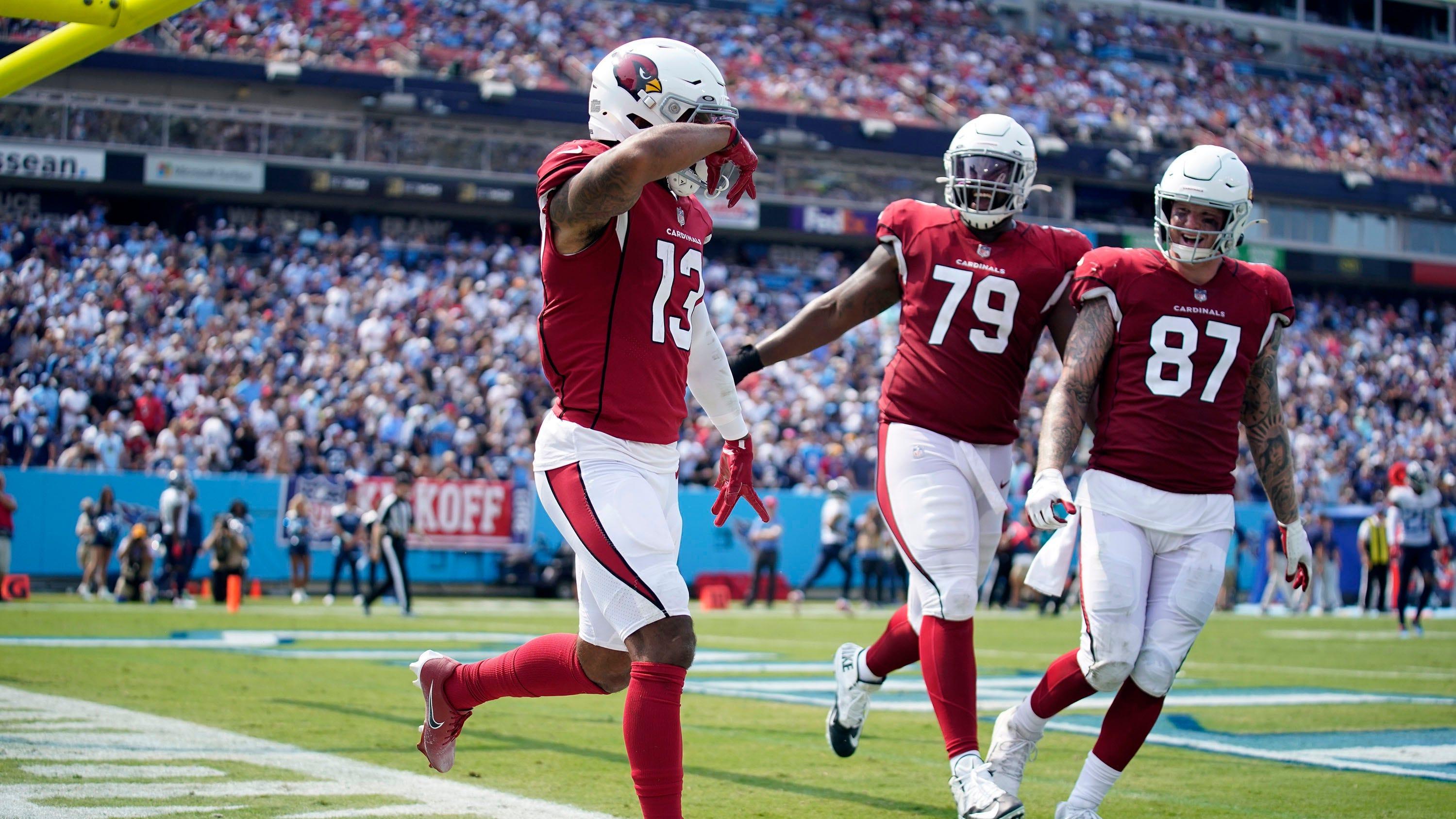 Arizona Cardinals wide receiver Christian Kirk (13) celebrates a touchdown during the third quarter at Nissan Stadium Sunday, Sept. 12, 2021 in Nashville, Tenn.  Titans Cards 168
