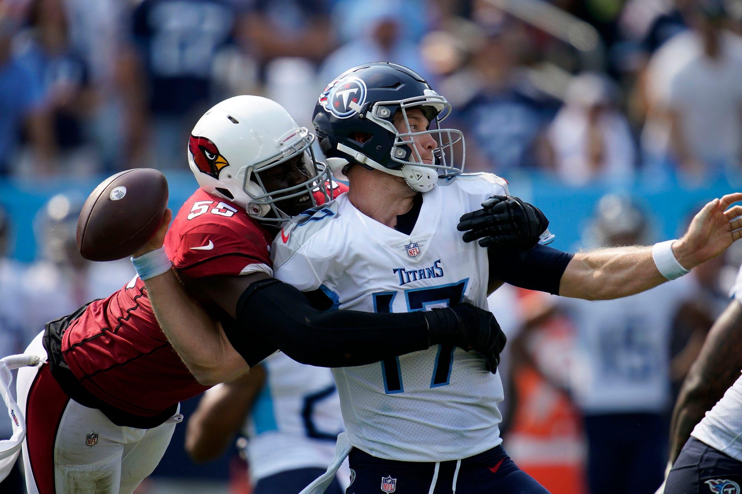 Tennessee Titans quarterback Ryan Tannehill (17) is sacked by Arizona Cardinals linebacker Chandler Jones (55) during the third quarter at Nissan Stadium Sunday, Sept. 12, 2021 in Nashville, Tenn.  Titans Cards 190